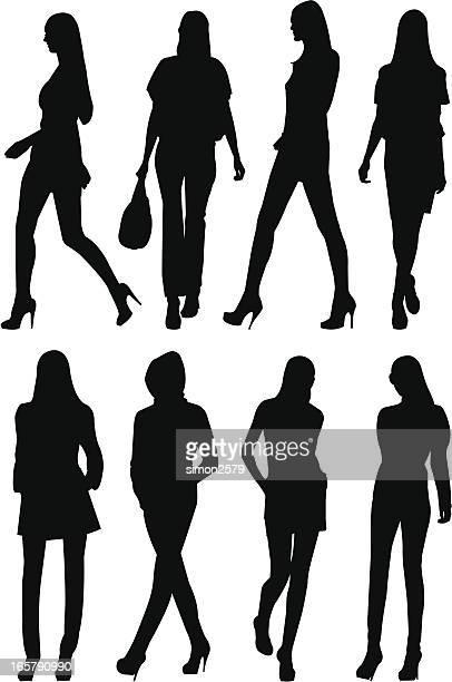 fashion model silhouette set - dress stock illustrations
