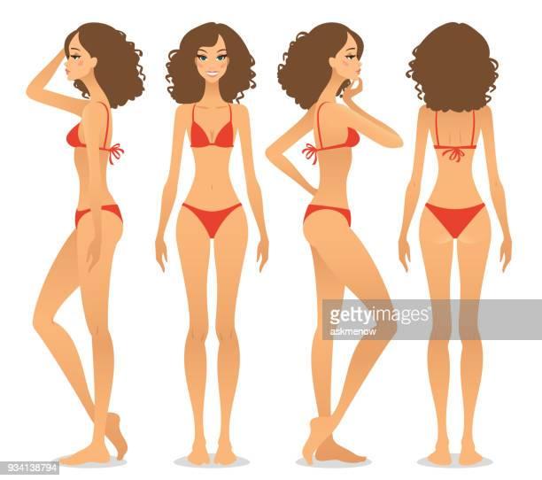 fashion model snaps - swimwear stock illustrations, clip art, cartoons, & icons