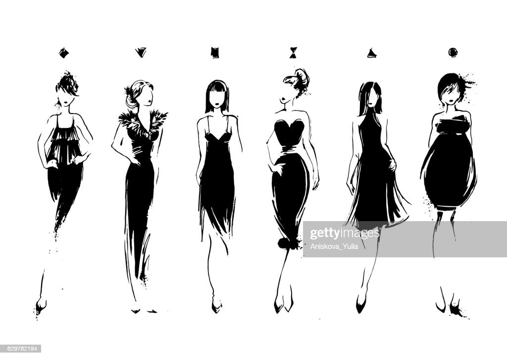 Fashion models in sketch style. Collection of evening dresses. Female