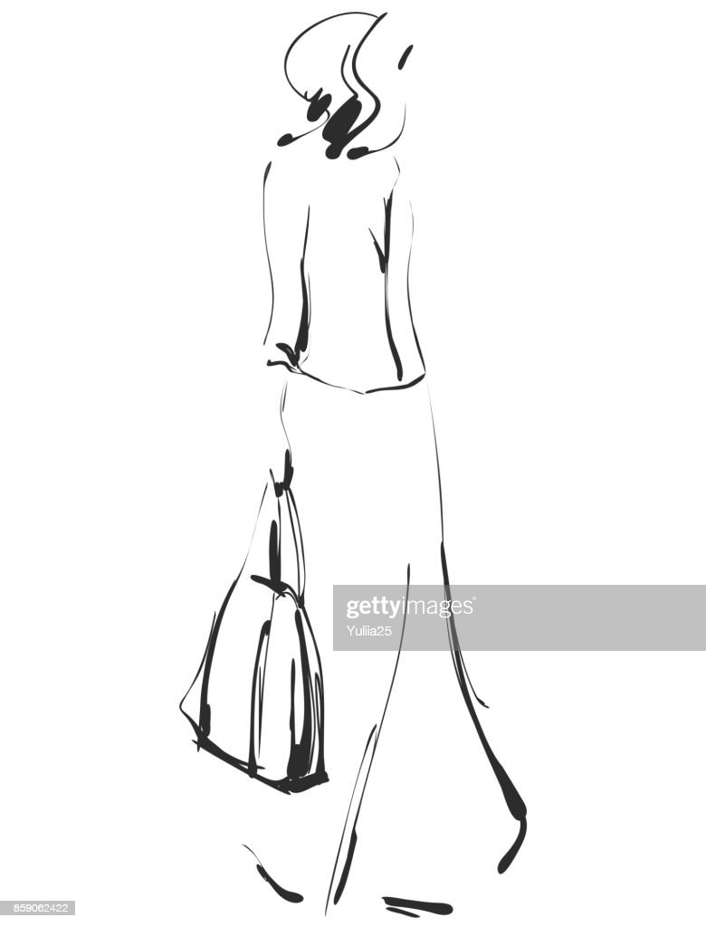 Fashion models sketch. Cartoon girl
