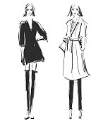 Fashion models. Sketch. Coat