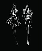 Fashion models sketch hand drawn , stylized silhouettes isolated .Vector fashion illustration.