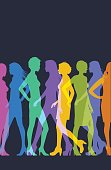 colourful overlapping silhouettes female fashion models