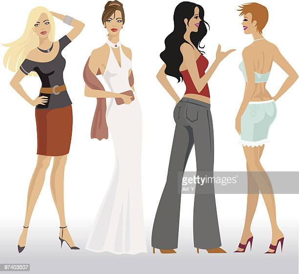ilustrações, clipart, desenhos animados e ícones de modelos de moda - mão no quadril