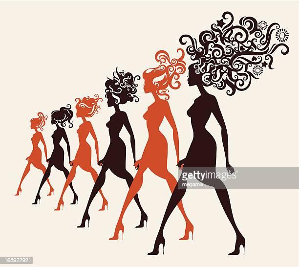 ilustrações de stock, clip art, desenhos animados e ícones de moda modelos andar em uma linha. - cabelo cacheado