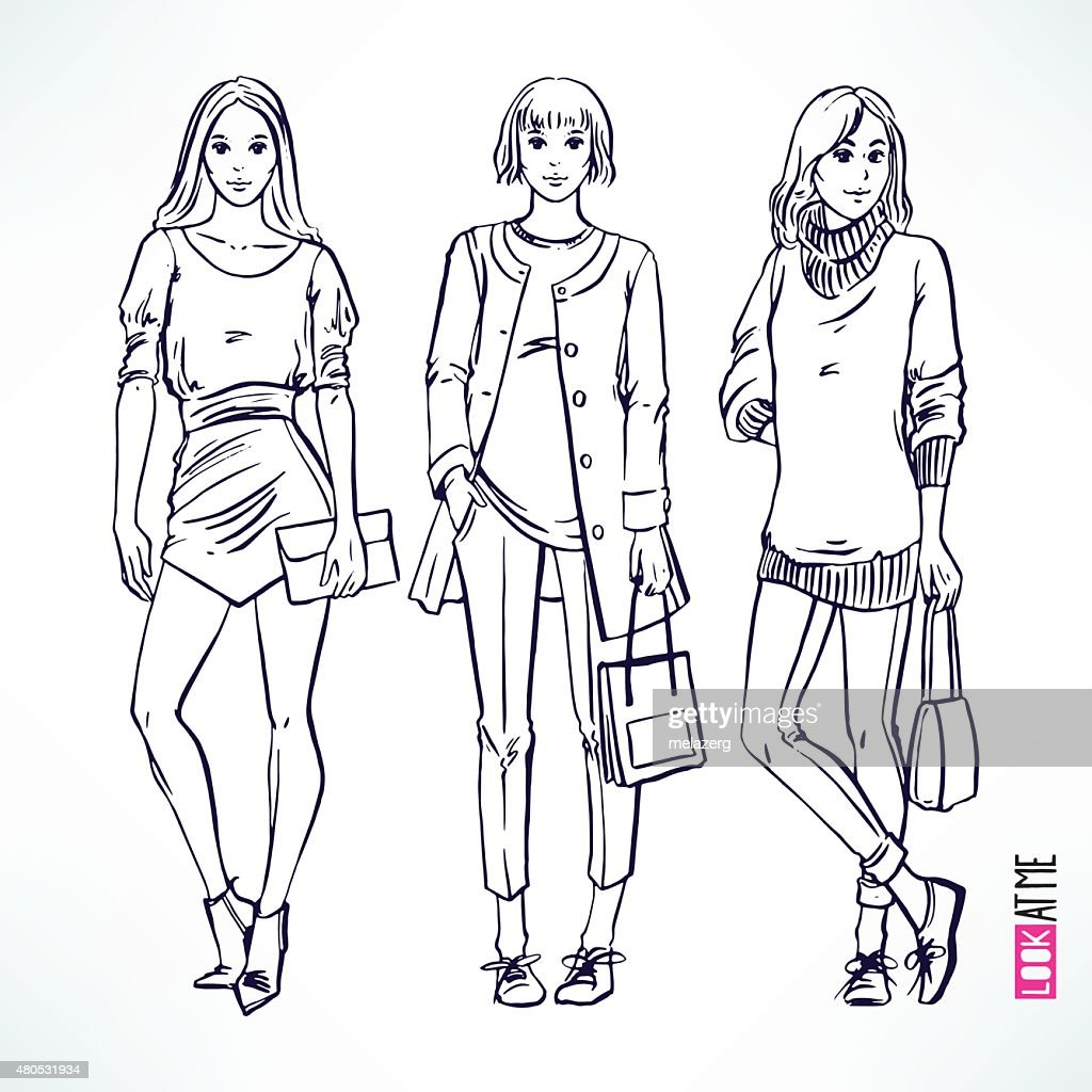 fashion modern sketch girl : Vector Art
