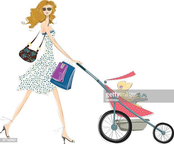 fashion mommy and baby - young adult stock illustrations, clip art, cartoons, & icons