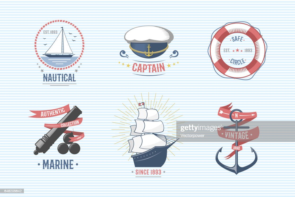 Fashion nautical and marine sailing themed label vector