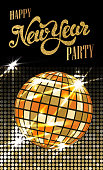 Fashion New Year party poster with gold sparkles.