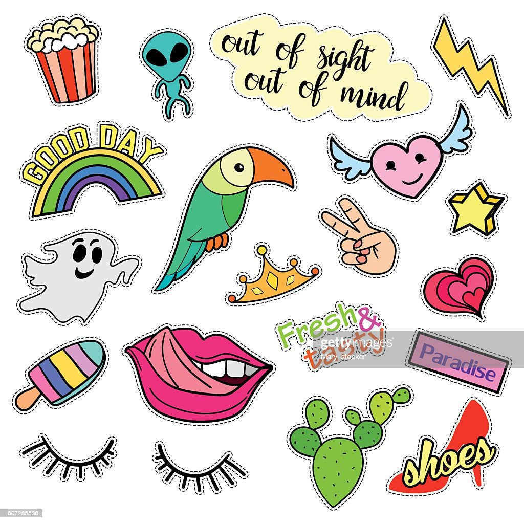 Fashion patch badges. Big set. Stickers, pins, embroidery, patches and