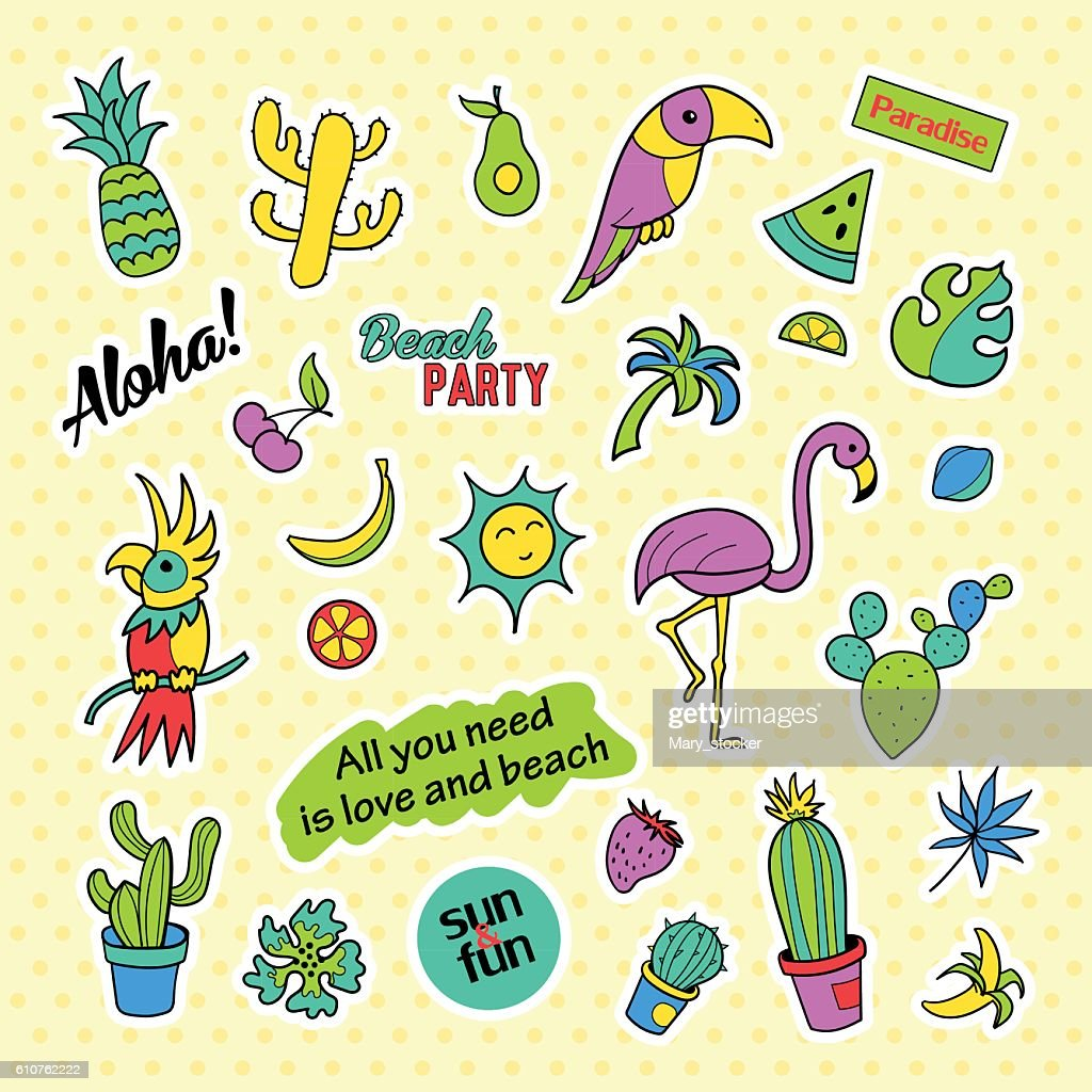 Fashion Patch Badges Pop Art Tropical Set Stickers Pins