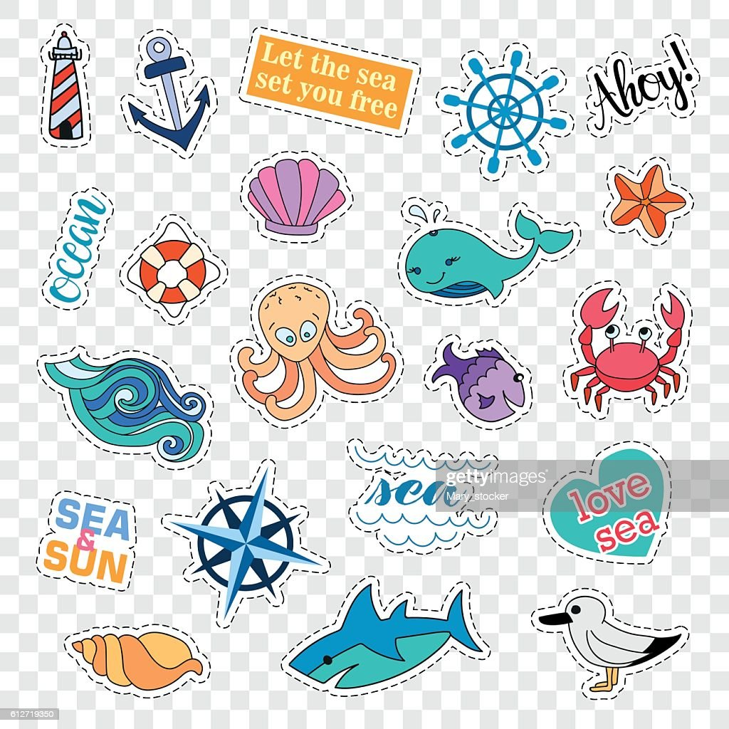 Fashion patch badges. Sea set. Stickers, pins, patches and handwritten