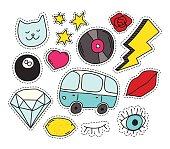 Fashion patch badges set
