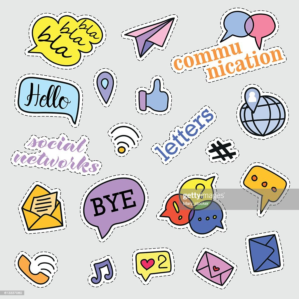 Fashion patch badges. Social networks set. Stickers, pins, patches and