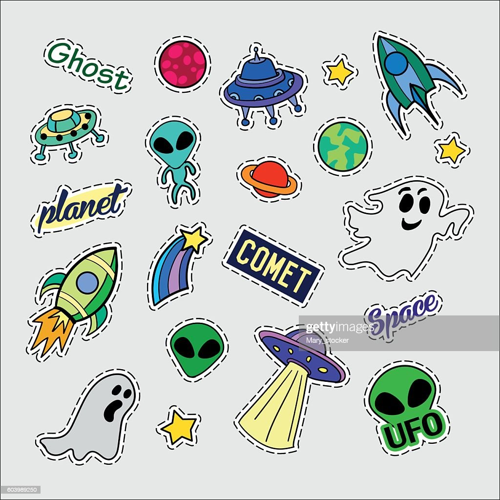 Fashion patch badges. UFO set. Stickers, pins, patches and handwritten