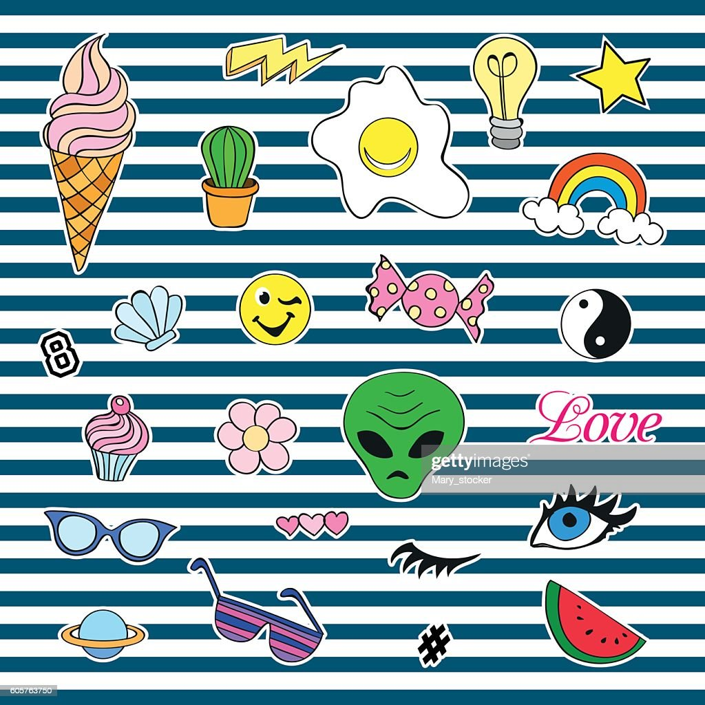 Fashion patch badges with different elements. Set of stickers, pins