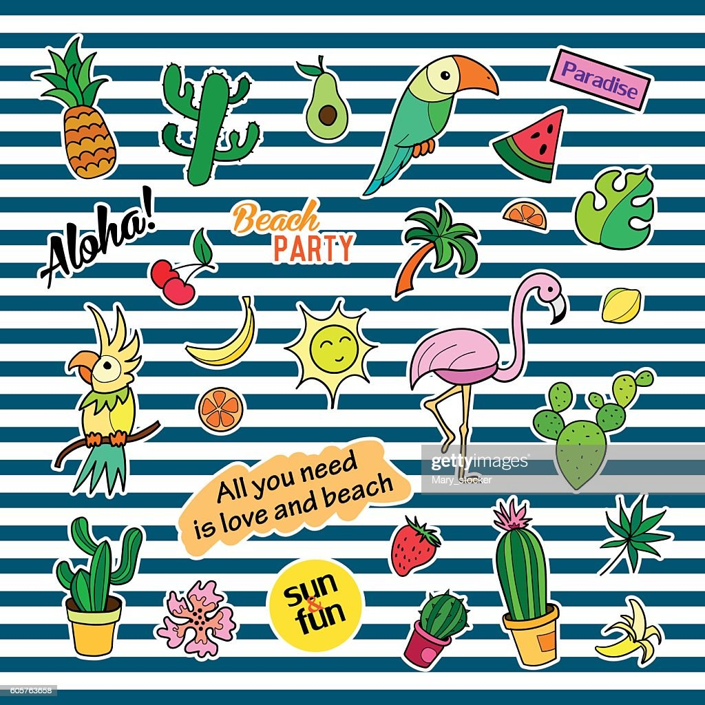 Fashion patch badges with different elements. Tropic. Set of stickers