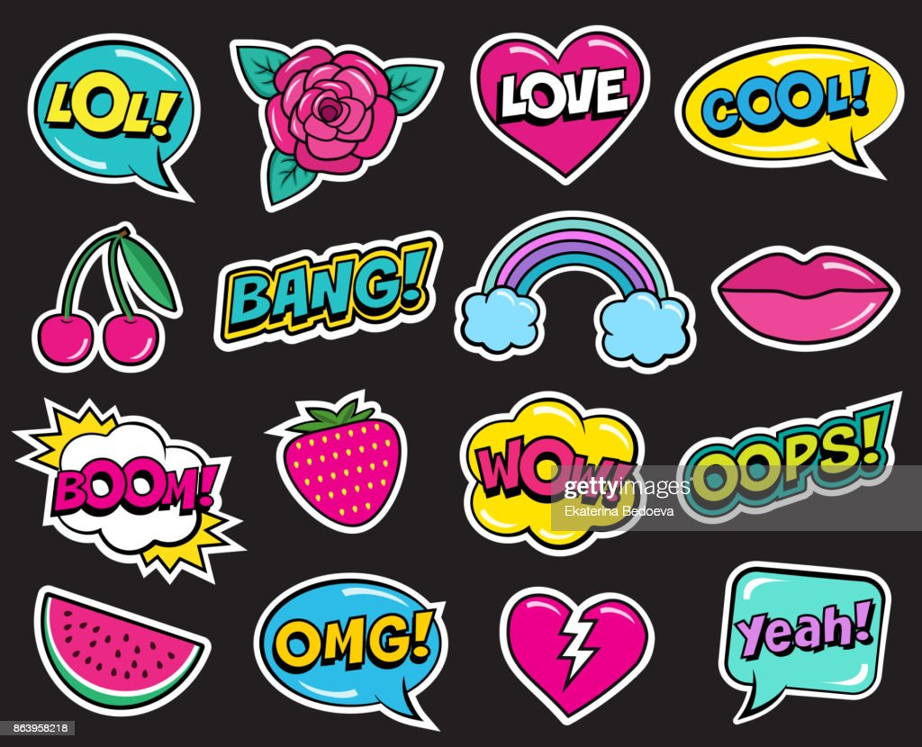 Fashion patch set on black background. Cool stickers of cherry, strawberry, watermelon, lips, rose flower, rainbow, hearts, retro comic bubbles, etc.