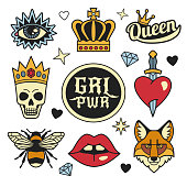 Fashion patches collection.
