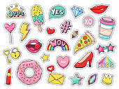 Fashion patches. Comic doodle girl badges, teenage cute cartoon stickers with funny food, pizza and donut, red lips and gems isolated vector illustration set