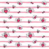 Fashion patches heart pattern vector seamless