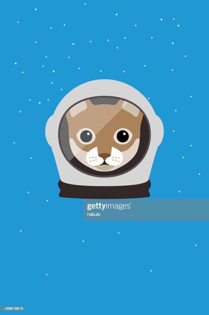Fashion portrait of cat, astronaut cat : Vector Art