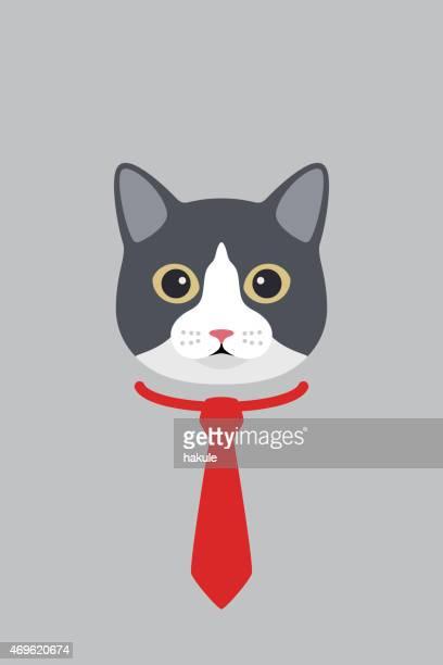 illustrations, cliparts, dessins animés et icônes de mode portrait de chat, chat messieurs - chat humour