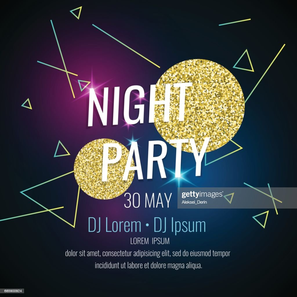 Fashion poster night party abstract style with glitter, rays, triangles and text