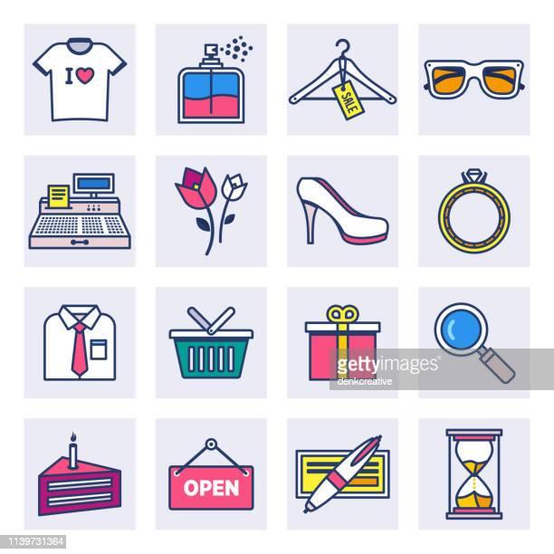 ilustraciones, imágenes clip art, dibujos animados e iconos de stock de productos de moda línea plana estilo vector icono conjunto - boutique