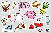 Fashion quirky cartoon doodle patch badges with cute elements