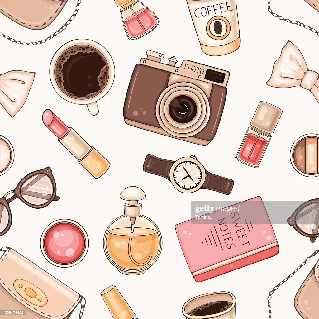 Fashion seamless pattern with woman accessories and cosmetics