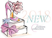 Fashion shoes new collection advertising promo banner, online shopping social media ads web template with beautiful heels. Vector illustration clipart