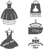Fashion shop vector logos, labels set