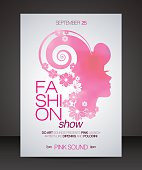 Fashion show flyer with floral hair pink beautiful woman silhouettett