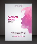 Fashion show flyer with pink watercolor silhouette of beautiful