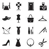 Fashion Show Icons. Black Flat Design. Vector Illustration.