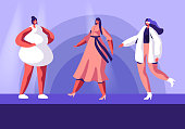 Fashion Show with Top Models on Catwalk. Female Characters Wearing Trendy Haute Couture Clothing Demonstrating Collection on Runway. Girls in Trendy Clothing Event. Cartoon Flat Vector Illustration