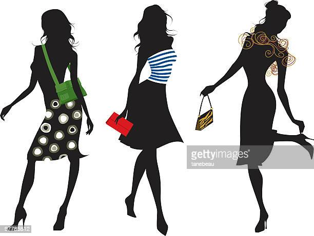 Fashion silhouettes with purses