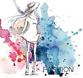 fashion sketch. Girl on a watercolor background.