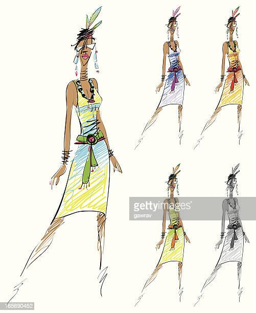 fashion sketch - cuban culture stock illustrations, clip art, cartoons, & icons