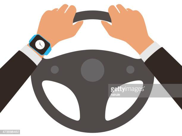 fashion smart  watch with hand, flat vector - steering wheel stock illustrations