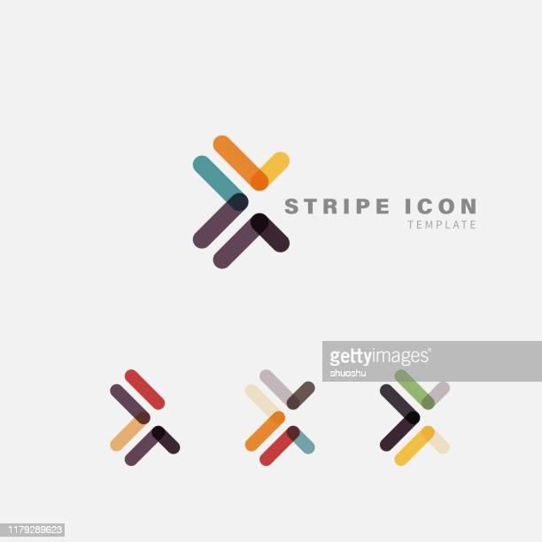 fashion stripe icon template collection for design - logo stock illustrations