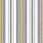 Fashion stripe pattern seamless vector background for textile design. Vertical stripes in grey, orange yellow, and white.