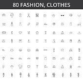 Fashion, style, clothing, clothes, female dress, men design, fashionable shirt, casual wear, wardrobe, lifestyle, sale, shop line icons, signs. Illustration vector concept. Editable strokes