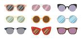 Fashion sunglasses accessory sun glasses spectacles plastic frame goggles modern eyeglasses vector illustration