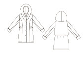 Fashion technical sketch of topcoat with hood in vector graphic