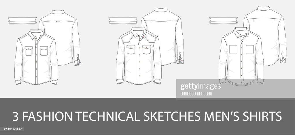 3 Fashion technical sketches men's shirt with long sleeves and patch pockets