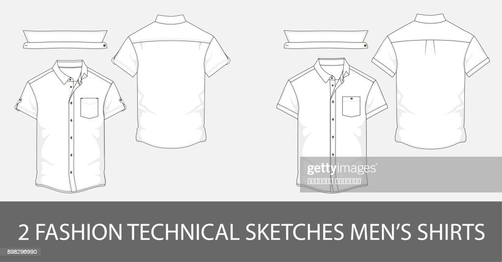 2 Fashion technical sketches men's shirt with short sleeves and patch pockets