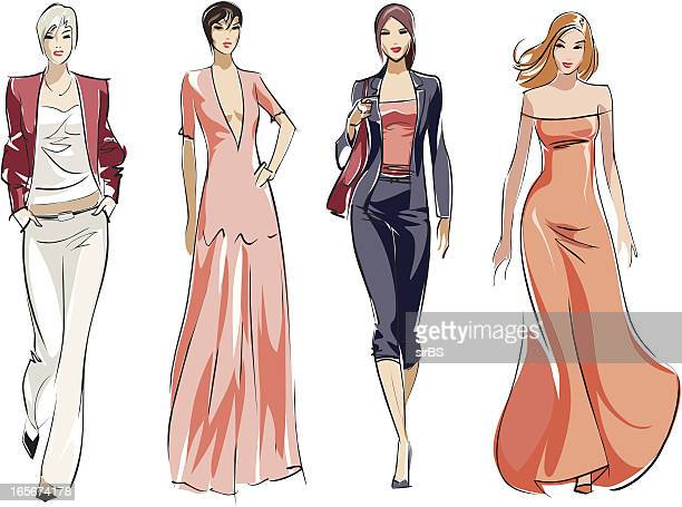 fashion - model stock illustrations