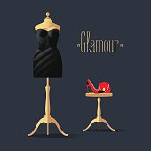 Fashion vector illustration with little black dress, high heels shoe